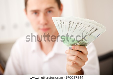 man hands with money, euro notes
