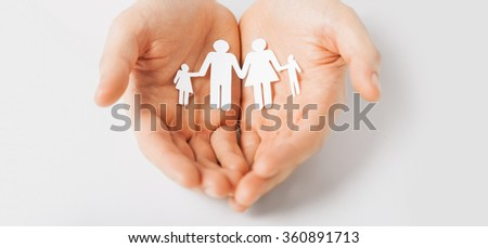 man hands with paper man family