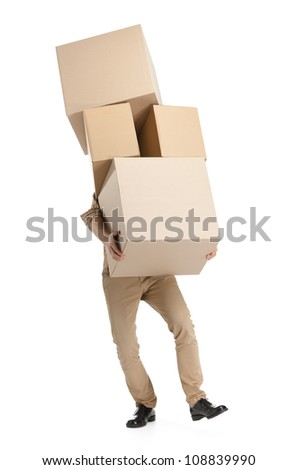 Man hardly carries the boxes, isolated, white background - stock photo
