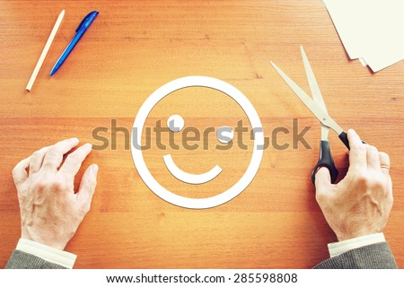 Man has positive emotion. Abstract conceptual image - stock photo