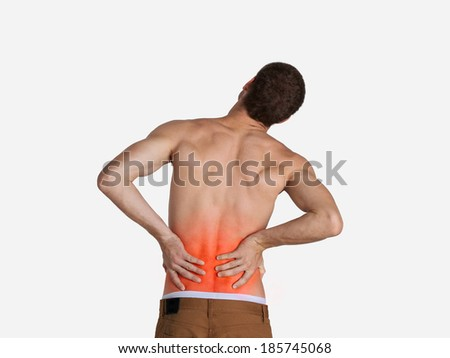 man have a backache with pain - stock photo