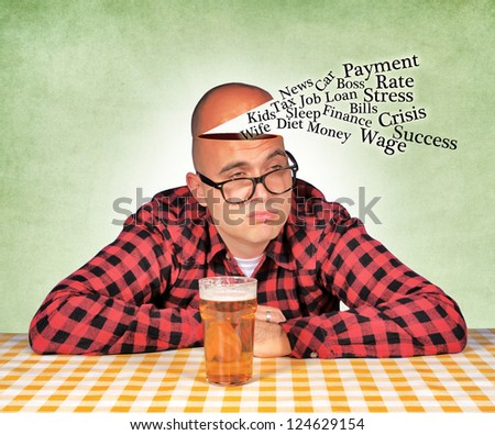 Man have a reasons to drink - stock photo