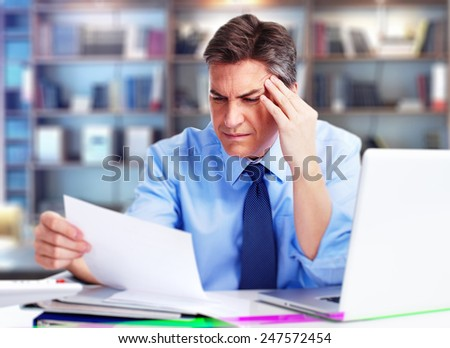 Man having a headache. Stress and depression. - stock photo