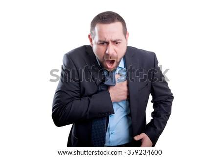 Man having a heart attack - stock photo