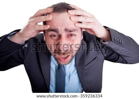 Man having a migraine - stock photo