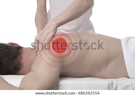 Man having chiropractic back adjustment, healing treatment. Osteopathy, Physical therapy, acupressure. Rehabilitation after sport Injury,isolated on white.