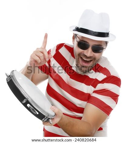 Man having fun at Carnival in Brazil - stock photo