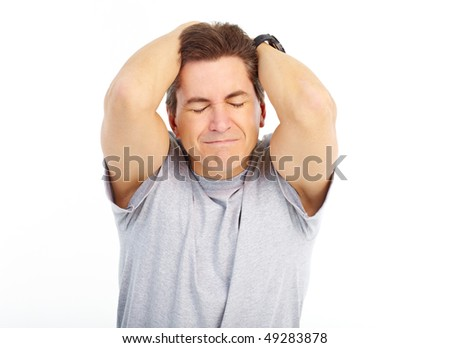 Man having headache. Isolated over white background