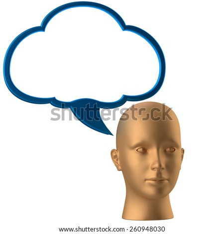 man head and drawing cloud isolated on the white - stock photo