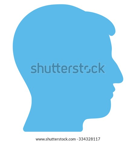 Man Head glyph icon. Style is flat symbol, blue color, rounded angles, white background.