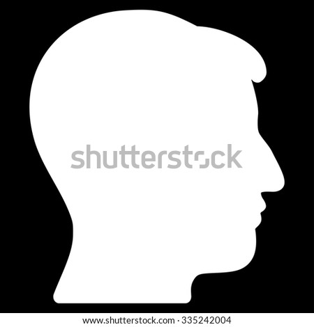 Man Head glyph icon. Style is flat symbol, white color, rounded angles, black background.