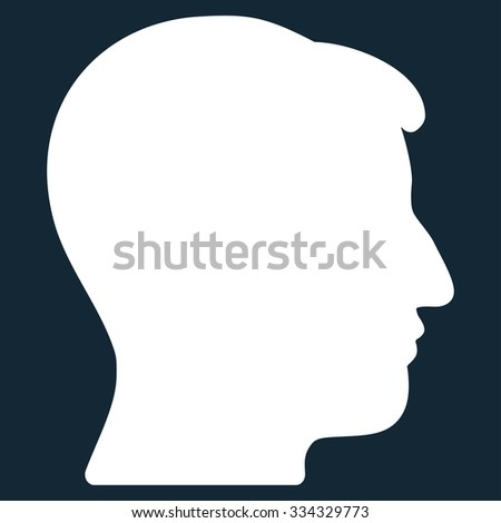 Man Head glyph icon. Style is flat symbol, white color, rounded angles, dark blue background.