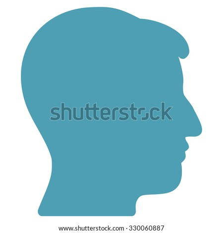 Man Head illustration icon. Style is flat symbol, cyan color, rounded angles, white background.