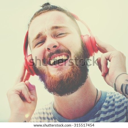 Man Headphones Listening Music Happiness Concept