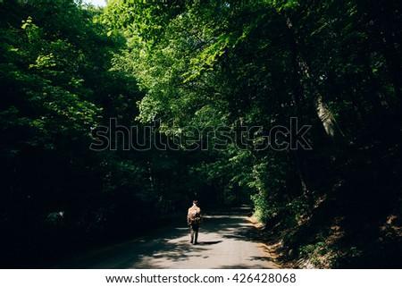 Man hiker walking relaxing in the Misty mountain forest. Mountain trek - stock photo