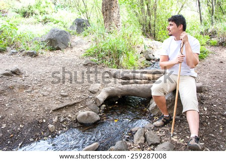 man hiking - stock photo