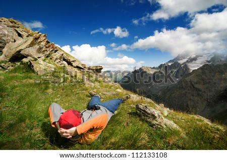 man hiking in mountain - stock photo