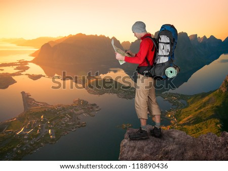 man hiking in Norway