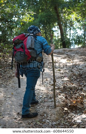 Man hiking outdoor in the forest, traveling concept.
