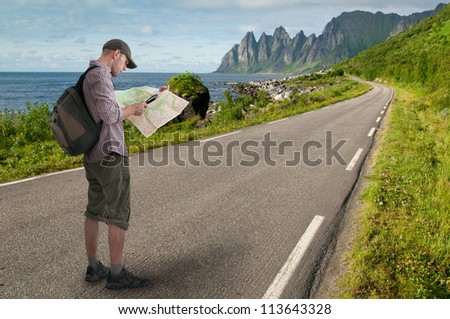 man hiking outdoors - stock photo