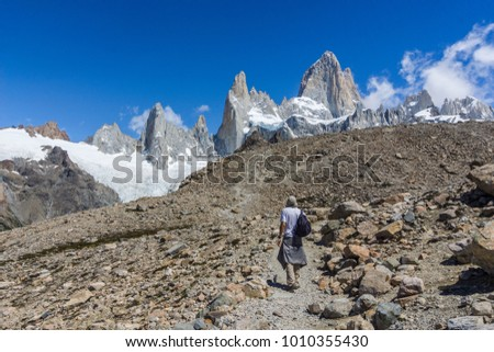 Man hiking to Fitz Roy Mountain in El Chalten, Argentina