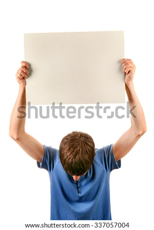 Man hold Blank Board Isolated on the White Background - stock photo