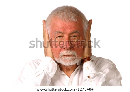 Man hold both ears closed - stock photo