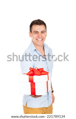 man hold gift box smile isolated over white background - stock photo