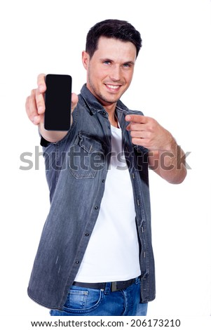 man hold samrtphone - stock photo