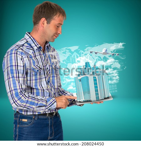 Man hold tablet pc with airplane, skyscrapers and arrow - stock photo