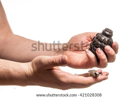 Man hold the fragmentation granade - stock photo
