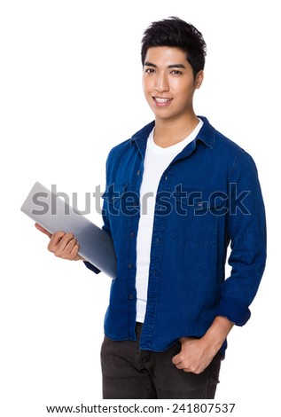 Man hold with laptop