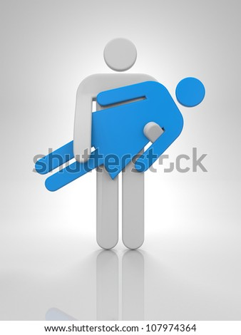 Man hold woman in hands - stock photo