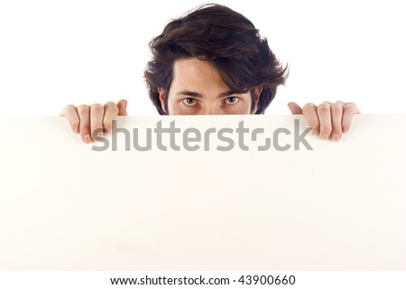 Man holding a banner, a lot of copyspace, isolated over a white background