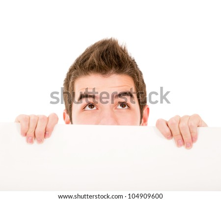 Man holding a banner - isolated over a white background