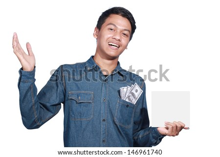 man holding a blank card and no money in his pocket isolated on white background - stock photo