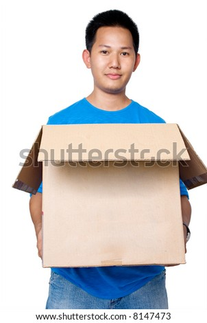 Man holding a box moving out