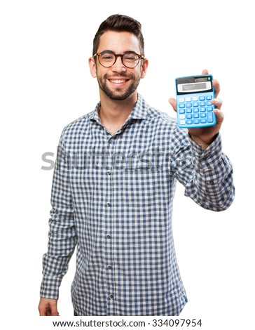 man holding a calculator - stock photo