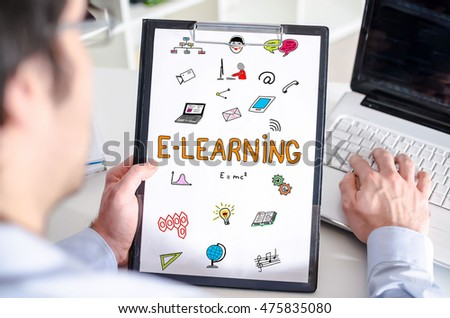 Man holding a clipboard with e-learning concept
