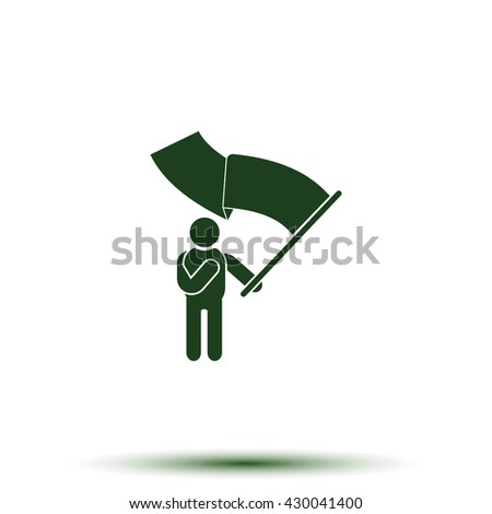 Man holding a flag. - stock photo