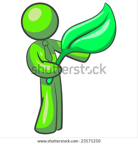 man holding a large leaf. Good illustration for modern need to take care of the earth.