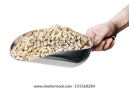 Man holding a metallic scoop full of wood pellets. Wood pellets made from industrial wood waste and are used for fuel. - stock photo