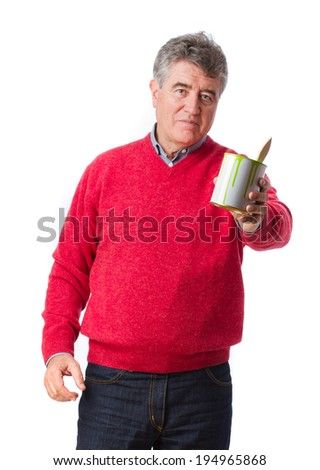 Man holding a paint can