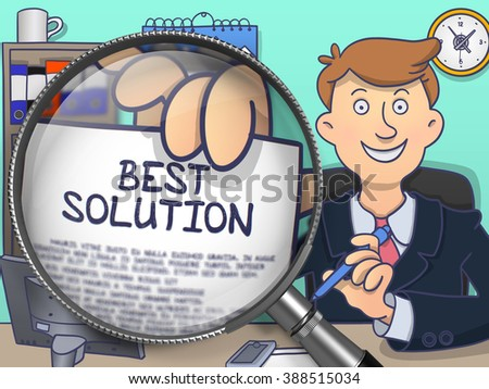 Man Holding a Paper with Concept - Best Solution. Closeup View through Magnifier. Multicolor Doodle Style Illustration. - stock photo