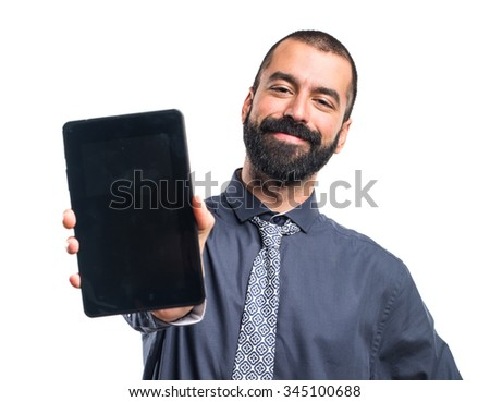 Man holding a tablet - stock photo