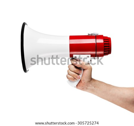 Man holding a white and red megaphone in his hand.