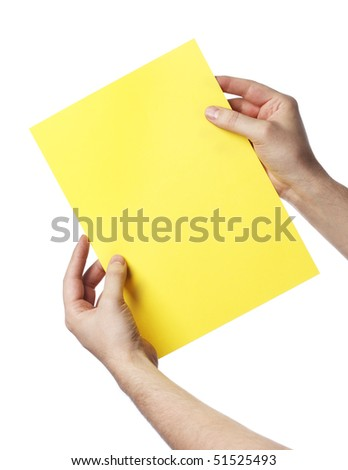 Man holding a yellow paper