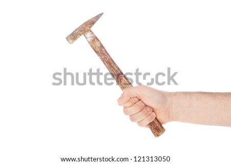 Man holding an old hammer, isolated on a white background