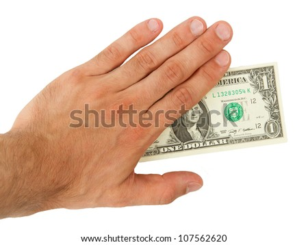 Man holding an one dollar bill, isolated on white