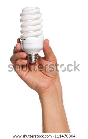 Man holding an small two light bulbs isolated on white background